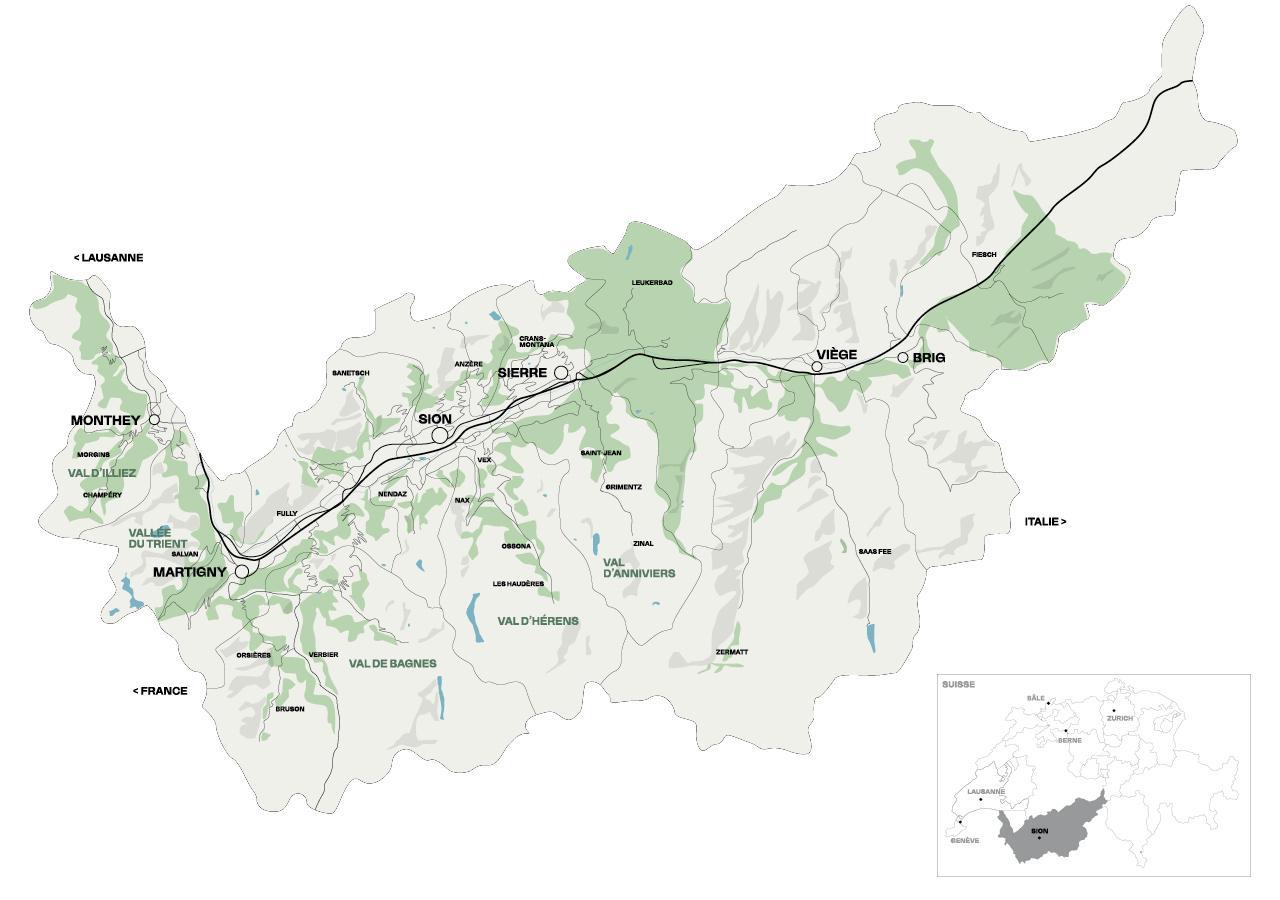 Carte du canton du Valais présentant les offres d'Otentik.ch
